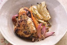 This fragrant dish is sure to get stomachs rumbling as it roasts. After quickly covering the chicken in a simple rub, which gets its flavor from coarse-ground mustard, you'll pop it in the oven nestled in fennel, carrot, and onion and sprinkled with fresh thyme leaves. It's like a slow-cooked Sunday supper in Provence, but one that comes together in a single roasting pan in your kitchen…in under an hour. Substitute potatoes, parsnips, or your family's other favorite root vegetables for the…