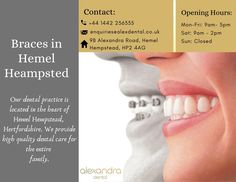 Get your beautiful healthy smiles with orthodontics treatments in Hemel Hempstead at Alexandra Dental Practice. Our most innovative and successful orthodontist offers to straighten your teeth using all types of aligners and braces in Hemel Hempstead for all members of the family. Hemel Hempstead, Orthodontics, Dental Care, Teeth, How To Remove, Healthy, Beautiful, Dental Caps