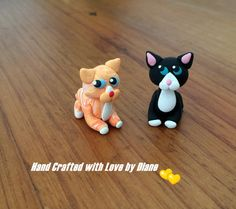 2 Miniature Hand Crafted Polymer Clay Whimsical Cats - Black and White and Tabby