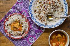 Tintureira com harissa e arroz do oriente