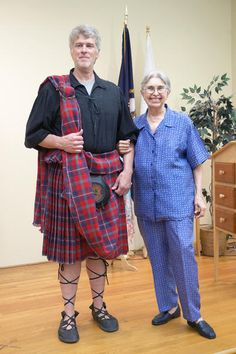 """<div class=""""source"""">Ashley Wilkins</div><div class=""""image-desc"""">A now healthier Mary Margaret Krahulec stands beside her son Ken Krahulec who modeled a kilt she made for him. After being diagnosed with cancer, she said she asked her son if there was anything he would like from her before she died.  He said he always wanted her to make him a kilt.  For the next three and a half years while enduring chemotherapy Mary Margaret Krahulec wove the kilt with Scottish wool.</div><div…"""