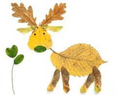 such a cute kid's craft idea! just take leaves from outside to paste to paper in the shape of animals.