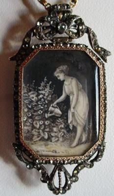This miniature on ivory is one of my favorite pieces due to the subject matter and superb artwork. The use of the dark background is typically French,