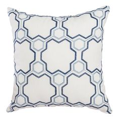 Softline Lowel Decorative 20-inch Feather Filled Throw Pillow (set of 2) (Navy SKY), Blue, Size 20 x 20 (Polyester, Geometric)