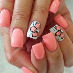 Nail art is one of many ways to boost your style. Try something different for each of your nails will surprise you. You do not have to use acrylic nail designs to have nail art on them. Here are several nail art ideas you need in spring! Cute Summer Nail Designs, Cute Summer Nails, Nail Designs Spring, Nail Art Designs, Nail Summer, Summer Toenails, Nail Art Ideas For Summer, Fingernail Designs, Flower Nail Art