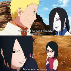 """My wife isn't a weak woman!"" Said Sasuke to Orochimaru ❤️❤️❤️"
