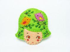 Fantasia cookie girl head felt brooch