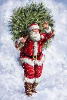 More Santa Claus Christmas Scenes, Noel Christmas, Father Christmas, Vintage Christmas Cards, Christmas Pictures, Retro Christmas, Christmas Greetings, Winter Christmas, Xmas
