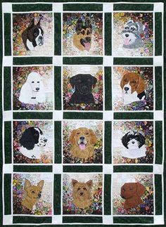 Rachel's Dog Kennel Watercolor Quilt Kit- made these dogs with a solid grey background and black and white print sashings and squares. Also my order of the dogs is different too.