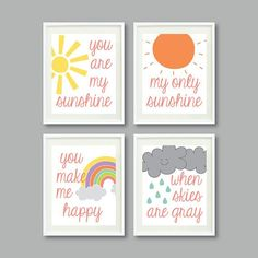 You Are My Sunshine  Set of Four Prints for Kids Room