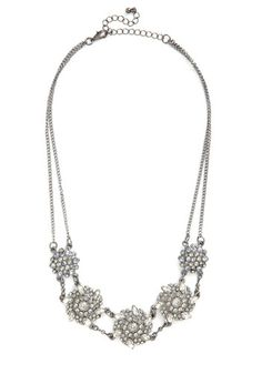 Get Your Filigree Necklace - Solid, Flower, Rhinestones, Formal, Luxe, Good, Silver, Silver, Holiday Party