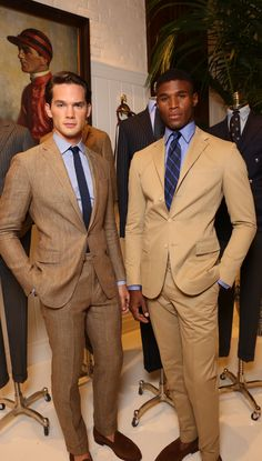 Polo ralph lauren models at the 2016 nyfwm presentation modern man, suit fashion, mens Gentleman Mode, Gentleman Style, Mode Masculine, Sharp Dressed Man, Well Dressed Men, Terno Slim, Brown Suits, Tan Suits, Polo Ralph Lauren