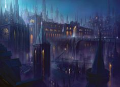 Dragon's Maze art for Orzhov Guildgate, a zoomed-out version of the original art from Gatecrash - Art by John Avon.