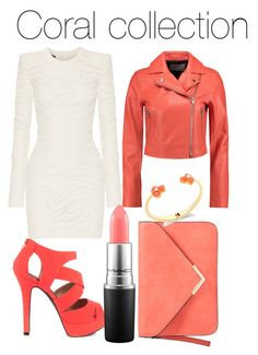 """Coral collection"" by shaelyn188 on Polyvore featuring Balmain, Qupid, MAC Cosmetics, T By Alexander Wang and Kate Spade"