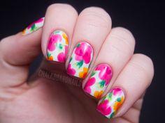 Chalkboard Nails: China Glaze Summer Neons Nail Art: Hawaiian Floral
