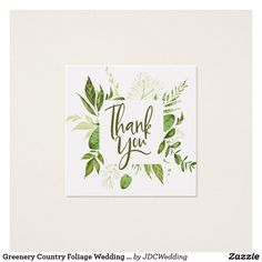 Greenery Country Foliage Wedding Thank You