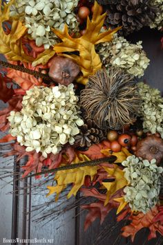 Artificial wreath as a base for natural elements and Fall Wreath DIY   homeiswheretheboatis.net