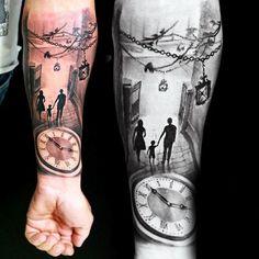 Family Of Three Late Night Outing Tattoo Mens Forearms   tatuajes | Spanish tatuajes  |tatuajes para mujeres | tatuajes para hombres  | diseños de tatuajes http://amzn.to/28PQlav: