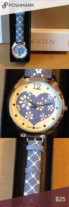 New Avon Denim petals watch New Avon denim watch with flowers Avon Accessories Watches