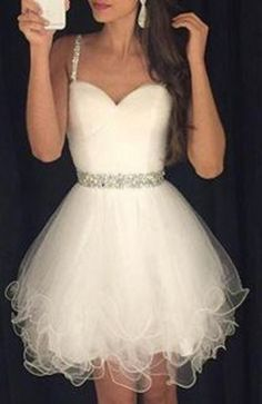 Sweet White Layered Spaghetti Strap Rhinestone Embellished Ball Gown Style Party Dress For Women