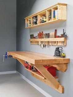 Wall mounted workbench woodsmith plans shop made tools wall mounted bench wall mounted workbench plans Carpentry Projects, Easy Woodworking Projects, Diy Wood Projects, Easy Projects, Woodworking Plans, Project Ideas, Woodworking Furniture, Popular Woodworking, Woodworking Workshop