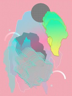 Falling Forms by Louise Zhang. By combining deformed shapes and a unique color palette, the artwork gets a strong a loud yet ethereal character.