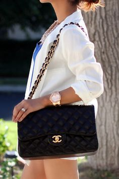 white blazer, rose gold watch, chanel = perfection