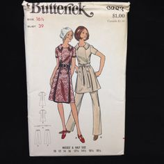 Uncut Butterick Pattern 6283 Half Sizes & Misses Dress Or Tunic & Pants VTG 16.5