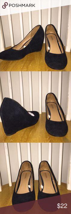 Black wedges Black suede wedges. Only worn once! Merona Shoes Wedges