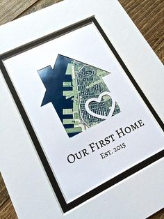 Our First Home Personalized Home Map Matted Gift First Home First Anniversary Gifts, Paper Anniversary, Boyfriend Anniversary Gifts, New House Announcement, First Home Gifts, House Map, Client Gifts, Just Because Gifts, Personalized Wedding Gifts