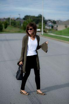 Bell Sleeve Cardigan + Leopard Flats