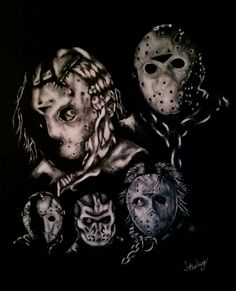 Kane Hodder character collage of Jason Voorhees from Friday the 13th Part 7, 8, 9, X. This acrylic painting was presented and given to Kane Hodder.