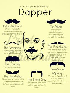 Mustaches. A man's guide to looking dapper.