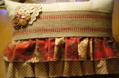 Cottage Chic Shabby Chic Striped  Red Green by specialfromrachel