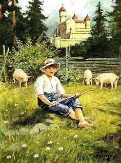 A Swineherd Jenny Nystrom (1854 – 1946, Swedish)