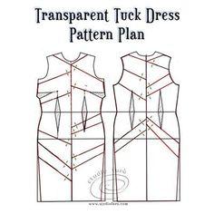Pattern plan for Transparent Tuck Dress Pdf Sewing Patterns, Vintage Patterns, Sewing Tutorials, Clothing Patterns, Dress Patterns, Tuck Dress, Pattern Drafting, Draped Dress, Historical Clothing