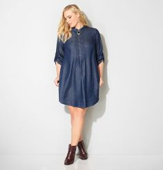 Shop denim looks like our new plus size Pleated Denim Shirtdress available in sizes 14-32 online at avenue.com. Avenue Store