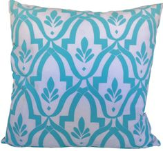 Wheat cushion cover in aqua ink on white linen/cotton