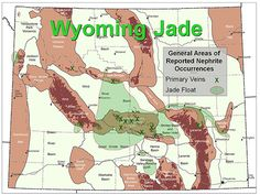 Map showing general areas of reported occurrences of in-place nephrite veins and detrital jade.