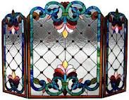 stained glass fireplace screen... my grandmother had one similar to this.