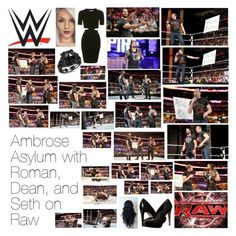 """""""Ambrose Asylum with Roman, Dean, and Seth on Raw"""" by wwediva72 ❤ liked on Polyvore featuring beauty, WWE, Topshop, Monday and Charles by Charles David"""