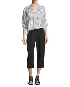 Joie  Toluca Striped Cotton Top Nazario Silk Pants. $New Joie Pants. Regular Price $188, See New offer At: shop. newofferclothing.com<<< #Joie-Pants Joie Clothing, Silk Pants, New Fashion, Cotton, Clothes, Shopping, Tops, Outfits, Clothing
