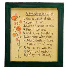 I pinned this A Garden Recipe Stitchery from the Gardendale event at Joss and Main!