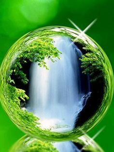 Water Fall In a Crystal Ball