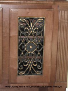 I 39 ve thought about using that silver metal grating i have - Wrought iron kitchen cabinet door inserts ...