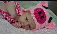 Crochet Pig Hat infant by SweetBabiesinYarn on Etsy, $20.00 @Allison Wilgus one day you may need this