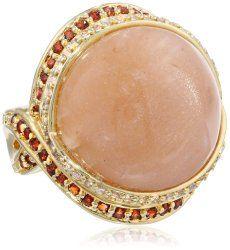 Yellow Bronze Moonstone with Cubic-Zirconia Ring #unusualengagementrings