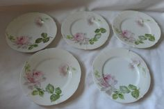 5 Vintage Germany Weimar Shabby White Chic Rose China Desert Plate