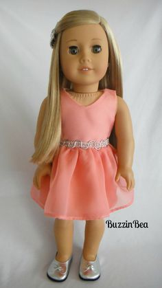 Salmon Chiffon Dress with Silver Trim & Silver Bow - American Girl Doll Clothes
