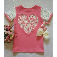 The 'Valentina' lace heart t-shirt in barbie pink by NaidaCrystal